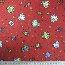 100% Cotton Robots Print on Red Fabric x 0.5m